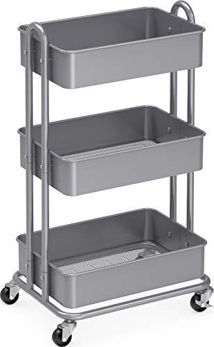 SimpleHouseware Heavy Duty 3-Tier Metal Utility Rolling Cart Silver