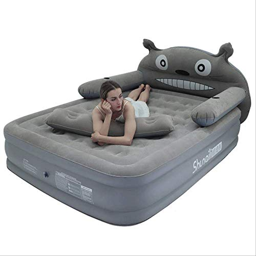 dingwen Inflatable cartoon bed sheets double thickness increase air cushion portable bed outdoor household air mattress camping mat   2person