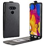 HualuBro LG V40 ThinQ Hülle, Premium PU Leder Leather HandyHülle Tasche Schutzhülle Flip Hülle Cover für LG V40 ThinQ Smartphone (Schwarz)