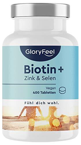 Biotin + Zink + Selen - Vergleichssieger 2020* - 400 vegane Tabletten (13 Monate) - Premium Haar-Vitamine hoch bioverfügbar - Laborgeprüft und ohne Zusätze in Deutschland hergestellt