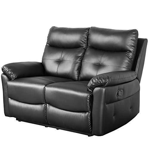 belupai Leisure Zone - Juego de sofá reclinable de piel sintética para sofá reclinable, sofá cama, sofá, suite y salón, 2 plazas, disponible para el hogar, salón, sala de estar
