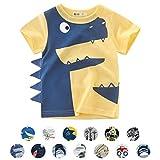 Unisexo Bebé Niños Dibujos Animados Animal Modelo Camiseta Dinosaurio/Tiburón/Coche Verano Corto Manga Tops (5-6 Años, C-Amarillo Claro)