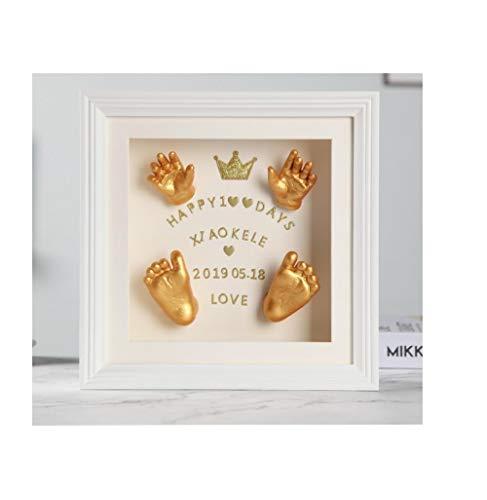 Baby hand model, 3D stereo analoge modellering model, massief hout fotolijst, baby hand en voet inkt, permanent gedenkteken