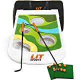 LITSPORTS Golf Cornhole Chipping Game Complete Set -Includes Clubs, Target Board, Hitting Mats, Balls & Bag. Fun Backyard Golf Game to Play Outdoor at The Beach or Yard, with Friends, Family and Kids