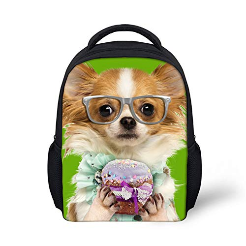 Student Bagpack, School Bag Glasses Dog Backpack Cartoon Puppy Backpack 3D Backpack Dog Picture High Capacity, for Travel/Holidays Gray