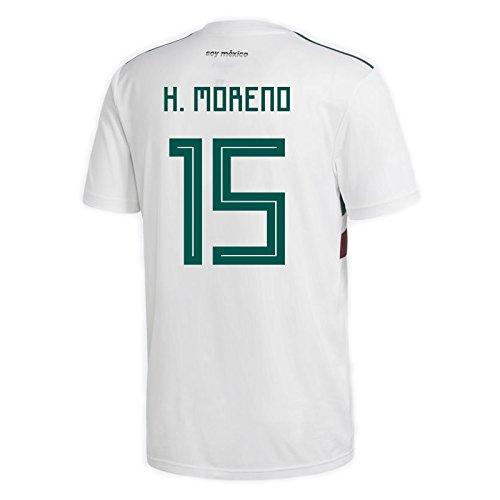 adidas H. Moreno # 15Mexiko Away Herren Fußball Trikot World Cup Russland 2018, Herren, White/Collegiate Green/Collegiate Burgundy, XX-Large