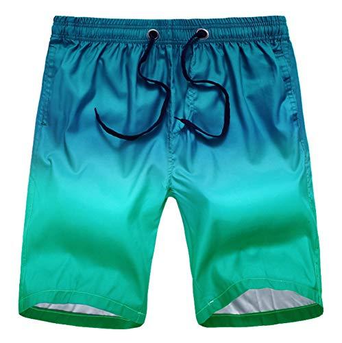LHAYY modische kurze Herren-Badehose mit Farbverlauf, schnell trocknend - Blau - Klein