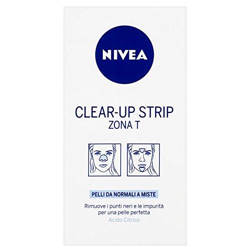 Nivea Clear-up Strip Zona T, rimuve I punti neri e le impurità per una pelle perfetta, pelli da normali a miste, Acido Citrico -