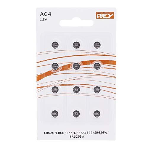 Pack de 12 Pilas AG4 1.5V Tipo Botón de Litio, LR626, LR66, 177, GP77A, 377, SR626W, ST626SW