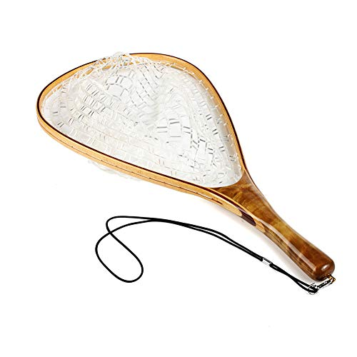 Zhihui Fly Fishing Landing Trout Net - Handmade Precious Wooden Frame Soft Rubber (Precious Wooden Handle-Square mesh)