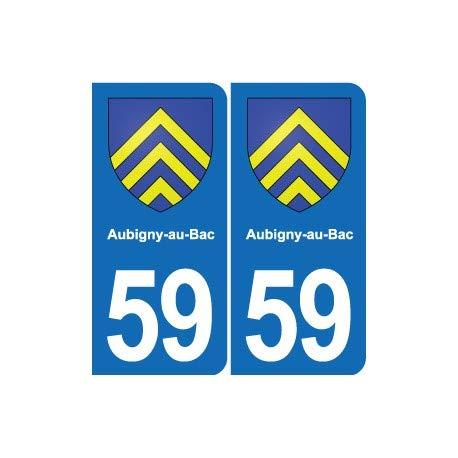 59 Aubigny-au-Bac escudo adhesivo para placa de ciudad – Esquinas redondeadas