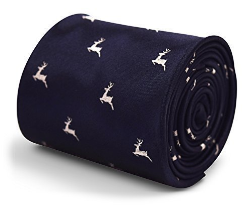 Frederick Thomas navy blue tie with leaping reindeer stag/deer design hunting season