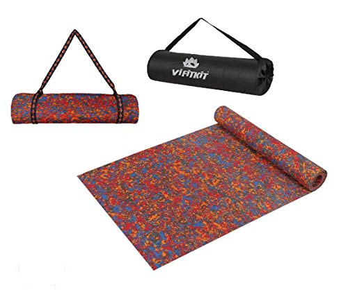VIFITKIT Anti Skid and Durable Multicolour Yoga Mat for Home Gym and Outdoor Workout with Free Bag and Strap (Made in India)