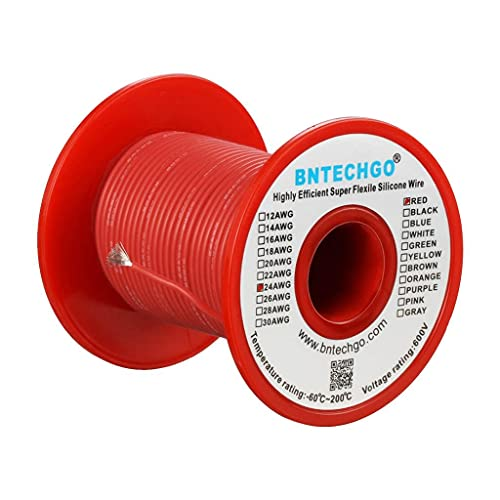 BNTECHGO 24 Gauge Silicone wire spool 100 ft Red Flexible 24 AWG Stranded Tinned Copper Wire