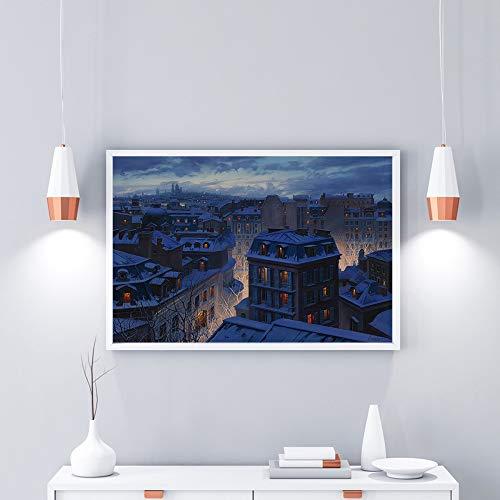 Dächer Wandkunst Rahmenlose Leinwand Malerei Wasserdichte Leere Bilder Landschaft Wandbilder für Wohnzimmer 60x80 CM (Kein rahmen)
