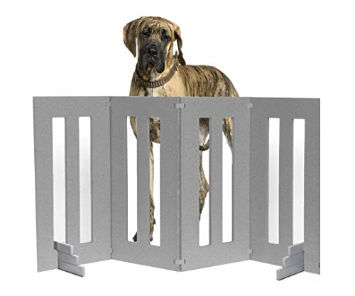 """NMN Products Best Outside Dog Gate. Backyard Dog Large, Long Folding Dog Fence for Outside Deck, Garden. Freestanding, Expandable, Extra Tall Wide Outdoor Dog Fence. 32"""" Inch Tall 4 Panels, Portable."""