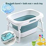 LAX - Piscina plegable para recién nacido con asiento central y cojín suave, segura para bebé, bañera portátil antideslizante, mini piscina para niños