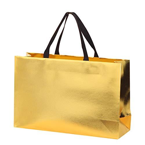 Paperist 10Stk 40x30x14cm goldene Tragetasche, mittelgroße Tragetasche, aus 250g speziell goldenem Papier hergestellte luxuriöse und stabile Tragetasche, Tragetasche für Geschenke