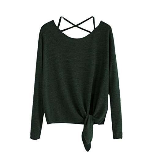 Kulywon Women Daily Casual Crow Tied up Long Sleeve Soild Fasion Tops Blouse T-Shirt