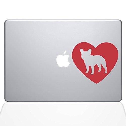 The Decal Guru Heart French Bulldog MacBook Decal Vinyl Sticker - 12' MacBook - Red (1325-MAC-12M-DR)