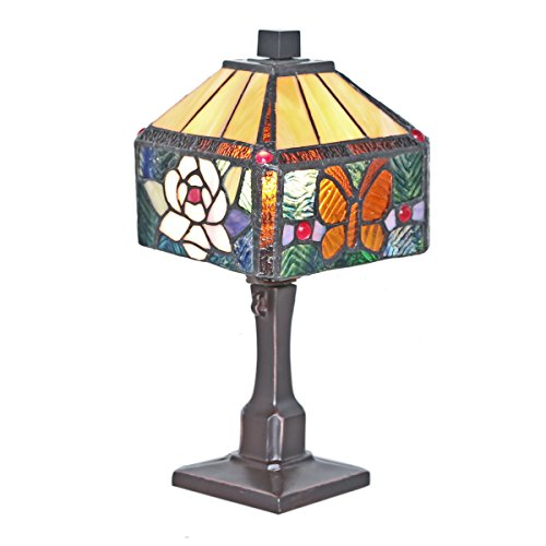 11.75-Inch Tiffany Style Stained Glass Butterfly Square Accent Table Lamp