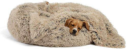 GLF Premium Round Plush Self-Warming Dog Bed with Blanket Donut Kennel Soft Puppy Basket Sleeping/Resting Cat Thick Washable Pillow