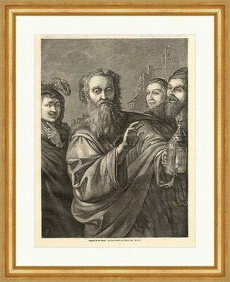 Kunstdruck Diogenes mit der Laterne Philosoph Ich suche Menschen Holzstich M 728 Gerahmt