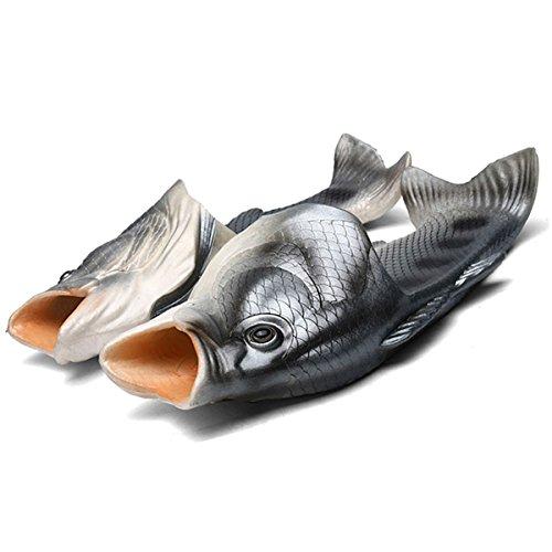 Fisch Hausschuhe Lustige Schuhe Slippers Unisex Anti-Rutsch Strand Besondere Sandalen Dusche Kinder Jungen Mädchen Damen Herren Schwarz 44/45