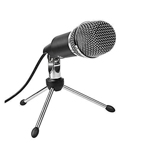 XXY Micrófono Condensador 3.5mm Plug and Play para computadora PC Chat en línea, Skype, Youtube, Google Voice Search (Color : Black)