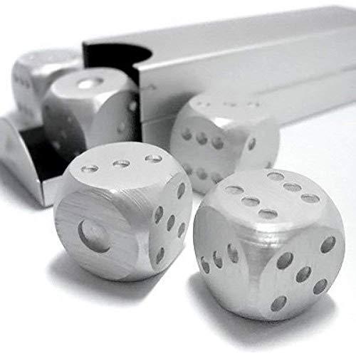 Agile-shop 5-in-1 Präzisions-Würfel, Aluminiumlegierung, massives Metall, Poker-Party-Spielzeug, tragbarer Würfel für Mann und Freund, Silver Rectangle