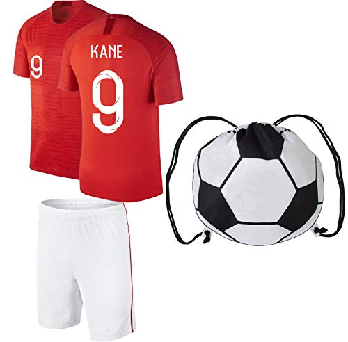 Harry Kane #9 Home/Away Soccer Jersey Kids Youth Sizes Football World Cup Premium Quality Backpack Gift Packaging (YM 8-10 Years, Away Ball Bag)