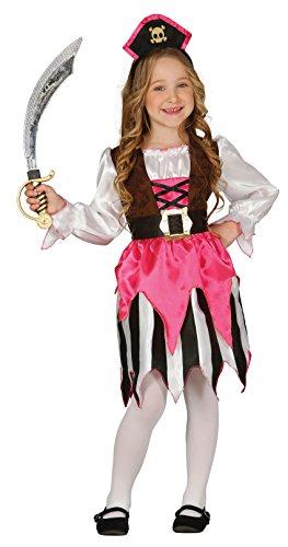 Chique piraatijn uit Caribisch - piraten kostuum kinderen meisjes met haarband- compleet piratijnkostuum voor kinderen roze-zwart-wit - zeemeermin kostuum kinderen meisjes carnaval (110/116)