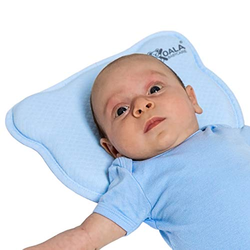 Almohada para Bebe para plagiocefalia desenfundable (con dos forros) para prevenir-curar la Cabeza Plana in Memory Foam Antiasfixia - KoalaBabycare - Perfect Head - Azul
