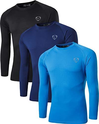 jeansian Homme 3 Packs UPF 50+ UV Sun Protection Outdoor Sports Long Sleeve Slim T-Shirt LA245 PackG XL