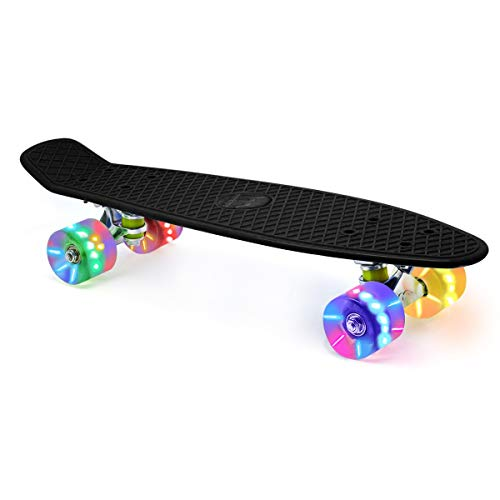 Merkapa 22' Complete Skateboard with Colorful LED Light Up Wheels for Beginners (Black)
