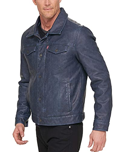 Levi's - Chaqueta clásica de piel sintética para hombre - Azul - Large