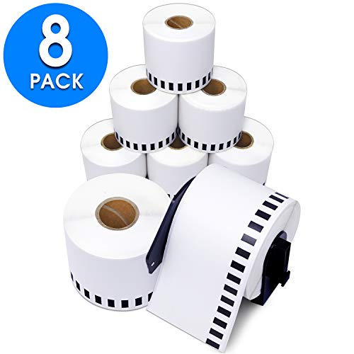 "Aegis Adhesives - Compatible DK-2205 Continuous Paper Tape (2.4"" X 100 Ft.) Replacement Labels, Compatible with Brother QL Label Printers - 8 Rolls + 1 Frame"