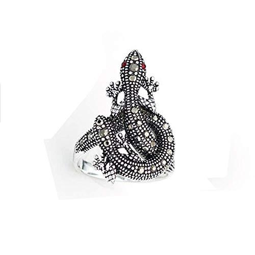 MingXinJia Mode Einzigartige Persönlichkeit Männer und Frauen Ring Silber Craft Shelter Gecko Eidechse Ring Zeigefinger Paar Ring für Frauen und Mädchen