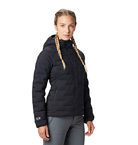 Mountain Hardwear Super/DS Hooded Women's Insulated Jacket for Hiking, Camping, Climbing and Everyday - Black - X-Small