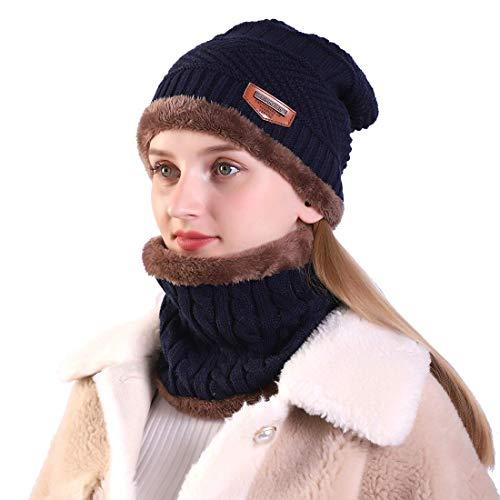 Relieco Soft Unisex Woolen Beanie Cap Plus Muffler Scarf Set for Women - Warm, Snow Proof - 20 Degree Temperature (Blue)