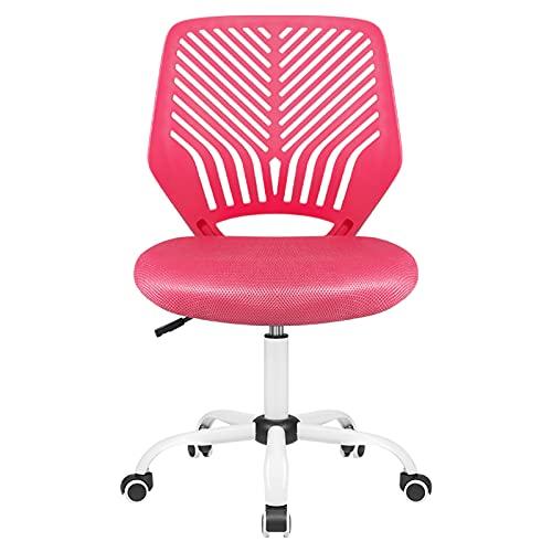 Pretzi Kids Desk Chair Teen Desk Chair Desk Chairs for Teens Girls Student Desk Chair Kids Study Computer Chair Adjustable Height Office Chairs Boys Ergonomic Swivel Mesh Armless Chair (Pink)