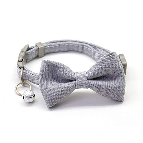 HUAGN Pet Collar Dog Collar Adjustable Breathable Cute Bow Girl Necktie With Bells Small Medium Dogs Cats Outdoor Pet Necklace Products