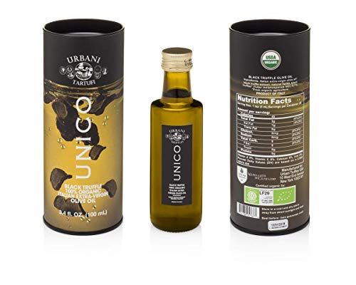 Italian Black Truffle Extra Virgin Olive Oil - 3.4 Oz - by Urbani Truffles. Organic Truffle Oil 100% Made In Italy Without Chemicals And With Real Truffle Pieces Inside The Bottle. No Artificial Aroma