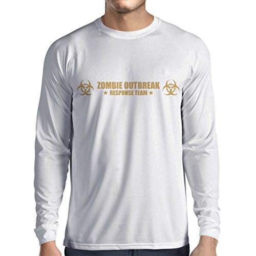 N4519L T-Shirt mit Langen Ärmeln Zombie Outbreak Response Team (X-Large Weiß Gold)