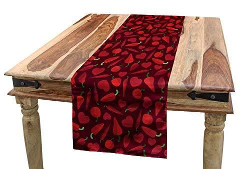 ABAKUHAUS Peppers Tafelloper, Valentijnsdag Maaltijd van het Voedsel, Eetkamer Keuken Rechthoekige Loper, 40 x 180 cm, Ruby and Green