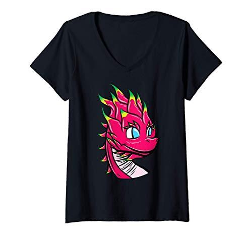 Mujer Cute dibujos animados Pitaya Dragon Fruit con cabeza de Camiseta Cuello V