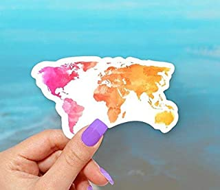 Watercolor Map Vinyl Sticker for Water Bottles, Laptops and Windows