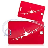 <span class='highlight'><span class='highlight'>OCTiLUX</span></span> Luggage Tags for Travel Suitcase PVC with Flexible Loop 2 Pack Red