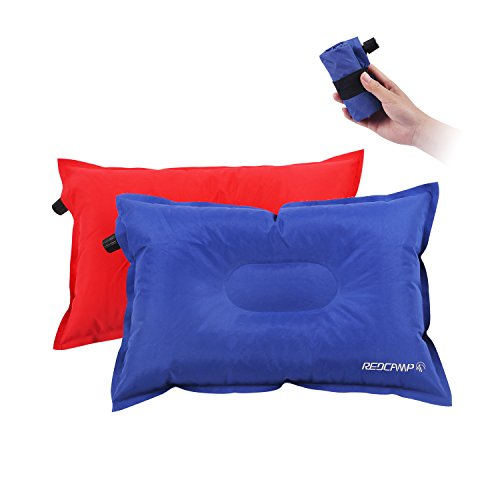 Inflatable Camping Pillow 2 Pack, 3.2oz Ultralight Inflatable Travel Pillow for Backpacking, Soft Top Fabric Anti-slip Base by REDCAMP