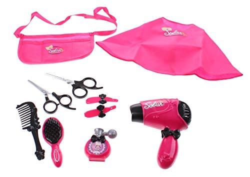 JONOTOYS Set de secador de pelo con accesorios, 10 piezas, color rosa